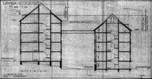 Løvenskiolds gt 11  Fasade vest -snitt